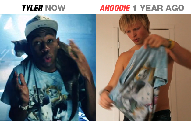 TOP AHOODIE TYLER TYLER THE CREATOR WEARING THE SAME KITTENS TEE FROM THE AHOODIE VIDEO