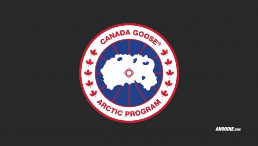 Ahoodie | Canada Goose logo wallpaper in charcoal